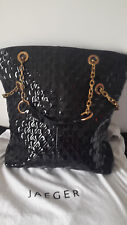 Jeager black quilted patent leather v.large handbag/shopper/shoulder.Great cond