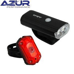 Azur Radiant 750 Lumen / 25 Lumen USB Bicycle Light Set  - Super Bright, 8 Modes