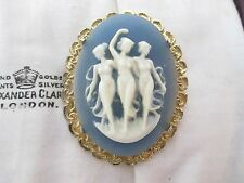 Joyas Vintage ornamentado oro tres gracias Antiguo De Plástico Broche Chal Pin