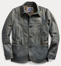 RRL Ralph Lauren 1930s Inspired Faded Blue Cowhide Car Coat Leather Jacket- M
