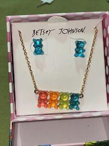 Betsey Johnson Gummy Bears Necklace & Earrings Set MSRP$38 NIB