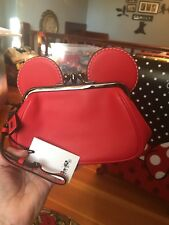 NWT Disney X Coach Mickey Mouse Red Leather Kisslock Wristlet Clutch 65794 RARE