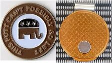 """Republican """"This Putt Can't Possibly Go Left"""" Golf Ball Marker 1"""" with hat clip"""