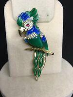 Vintage Very Rare Crown Trifari Enamel And Rhinestone Parrot Brooch Pin