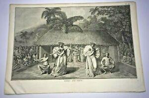 TAHITI DANSE D'O-TAITI 1774 JAMES COOK LARGE ANTIQUE ENGRAVED VIEW 18TH CENTURY