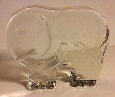 """Clear Heavy 5"""" Glass Crystal Elephant Figure Paperweight"""