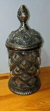 Vintage Silver Bubble Glass Covered Tobacciana Jar - Unique Beautiful Design