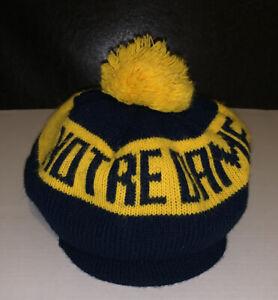 Notre Dame Fighting Irish ND Winter Pom Hat Beret Beanie Cabbie USA Made Vintage