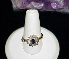 14k Solid Yellow Gold Oval Blue Sapphire Diamond Cluster Ballerina Cocktail Ring