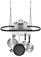 Sorbus Wall Mount Pot Rack with Hooks (Hanging Black)
