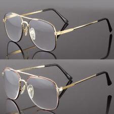 New Reading Metal Glasses Large Lens Aviator Spring Hinge Men Power Vintage