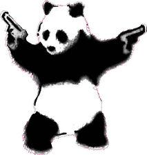 COOL PANDA WITH GUNS FUNNY DECAL STICKER WALL CAR VAN BIKE