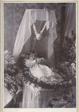 POST MORTEM PHOTO OF BABY GIRL SURROUNDED BY FLOWERS W/ DOVE -LAWRENCE, MASS