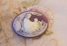 ~ Lady and Cherub Molded Cameo~40x30mm Button~White/Purple~ >^..^< Colony