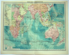 Original 1926 Map of the Indian Ocean Communications by George Philip. Vintage