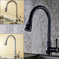 ORB/Chrome/Brushed Kitchen Sink Pull Out Swivel Mixer 2 Water Way Faucet Taps