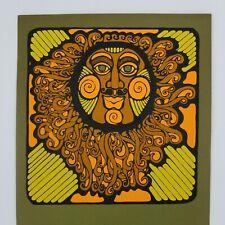 Mid Century Virgil Thrasher Silkscreen Calendar Sun Blacklight Poster Pop Art