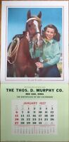 Pinup Cowgirl 1957 16x33 Poster/Advertising Calendar: Woman & Horse-Lasso Lassie
