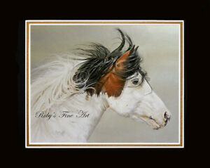 """Matted 8"""" x 10"""" Mustang Stallion Horse Art Print """"Wind Chaser"""" by Roby Baer PSA"""