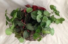 """Thick Red Green 12"""" Ivy Vine Silk Flower Faux House Plant in Wicker Vase"""