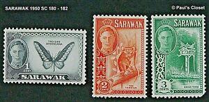 SARAWAK 1950 SC 180-182 NATIVE FLORA AND FAUNA & HISTORICAL SITES MLH VFINE
