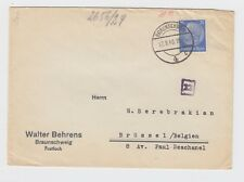 WW2 1940 Braunschweg Germany to Belgium Censored Cover via Cologne