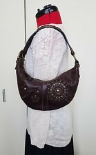 Coach Mia Soho Hobo Gold Studded Lace Dark Brown Leather Crescent Shoulder Bag