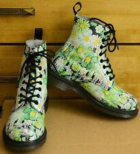 Dr Martens Pascal, Green Floral Paint Slick Backhand, Womens Shoes, UK 5, EU 38