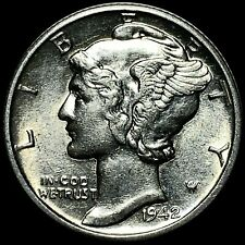 1942/1-D MERCURY DIME ACTIVELY-COLLECTED MINT ERROR OVERDATE NEAR-GEM (MED288T)