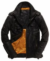 "Superdry Ryan Four Pocket Distressed Leather Jacket Size: M 38"" (97cm) RRP £199"
