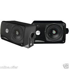 "3 Way Mini Box Weatherproof Marine Speakers 2 Pyle 3.5"" 200W Outdoor Black"