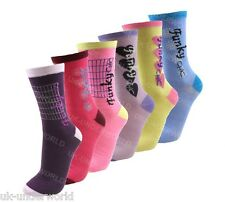 12 Pairs Ladies Neon Coloured Fashion Socks Funky Pattern Design Womens 4-6