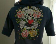 Christian Audigier Ed Hardy Women Short Sleeve Hoodie Jacket Love Die Hard sz M