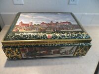 "E.OTTO SCHMIDT, LARGE 16"" BISCUIT/COOKIE TIN BOX, NURNBERG GERMANY. GREEN & GOLD"
