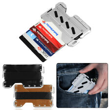EDC MultiTool Tactical Metal Leather Wallet Genuine Leather RFID Block CNC Alum