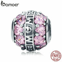 BAMOER Authentic S925 Sterling Silver Charm Great love With Zircon Fit bracelet