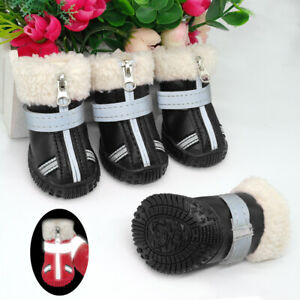 Waterproof Dog Shoes Boots Winter Fleece Lining Snow Booties Reflective Non-Slip