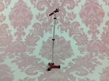 """Dollhouse Miniature Musical Singer Band Play 4"""" Metal Microphone with Stand 1:12"""
