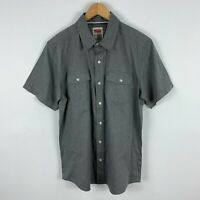 Levis Mens Button Up Shirt Medium Grey Short Sleeve Collared