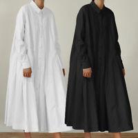 Damen Kragen Long Arm Kleid Shirtkleid Knopf Lose Oversize Hemdkleid Maxikleid