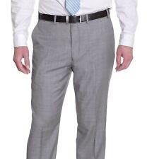 Herren Dkny Slim Fit Grau Schrittwelle 100% Wolle Flach Vorne Kleid Hose 36W