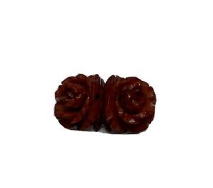 Brown Carved Rose Flower Bakelite Butterscotch Coat Pin Brooch
