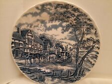 """Vintage Royal Wessex England Blue And White Round Stage Coach 10"""" Dinner Plate."""