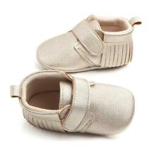 Baby Girl Gold Leather Fringe Moccasins - Crib Shoes - Soft Sole Shoes
