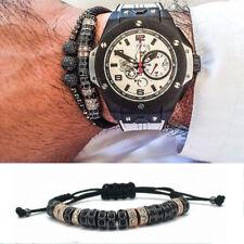 New Anil Arjandas Macrame Bracelets 18K Rose Gold Micro Pave CZ Stoppers For Men