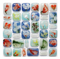 BLOSSOMS FLORAL Fused Glass Mosaic Tiles Sheets Borders Hand-Painted