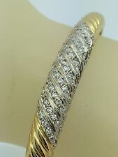 ESTATE 14kt YELLOW & WHITE GOLD BANGLE WITH DIAMONDS