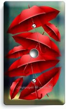 RED UMBRELLAS RAINY DAY LIGHT DIMMER CABLE WALL PLATE COVER BOUTIQUE HOME DECOR