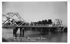 RPPC Bridge across Sacramento River WALNUT GROVE, CA Vintage Photo Postcard