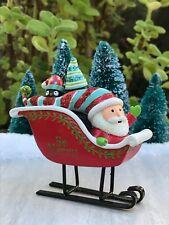 Miniature FAIRY GARDEN ~ Gnome Holidays CHRISTMAS Be Merry Santa Sleigh Figurine